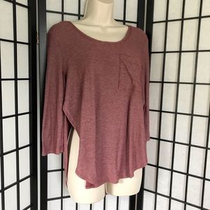 Me To We Burgungy Side Slit Top Shirt
